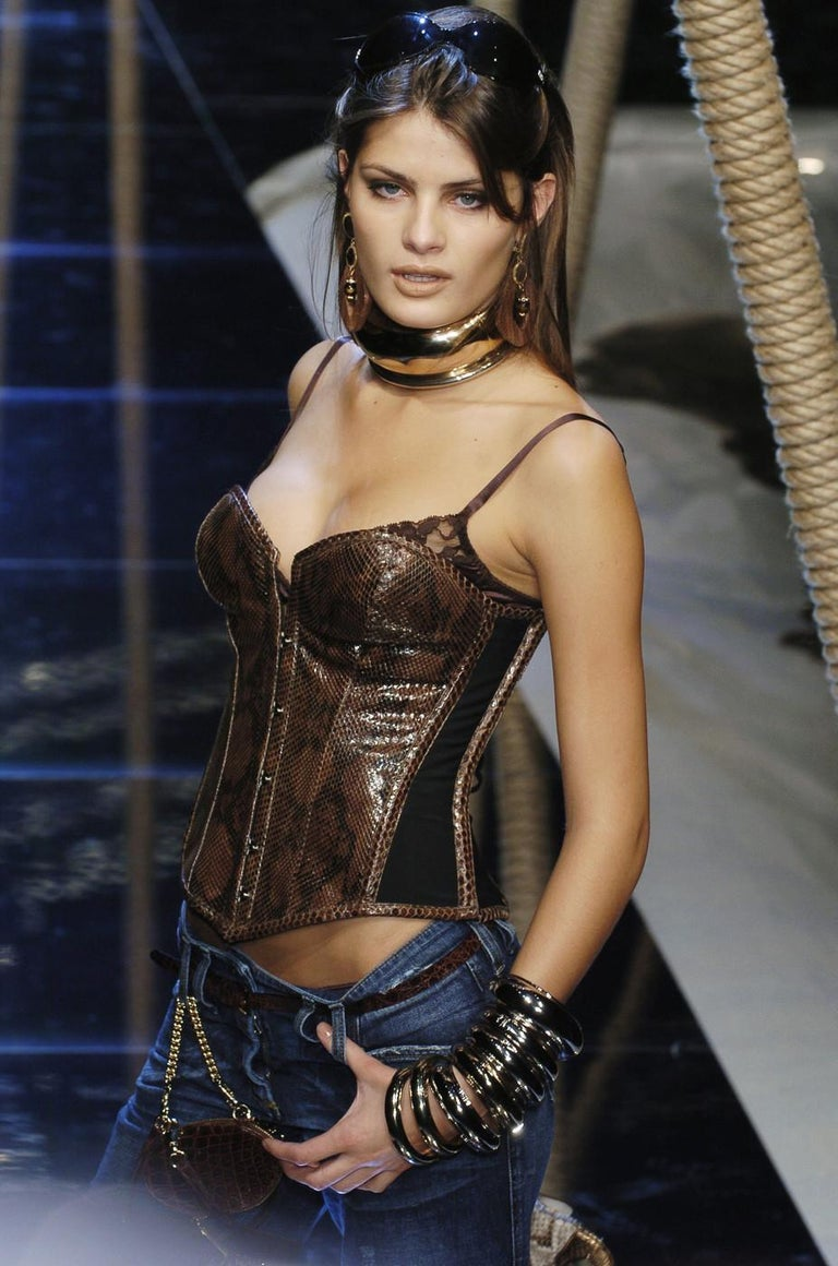 Black Dolce & Gabbana brown python bustier corset, ss 2005