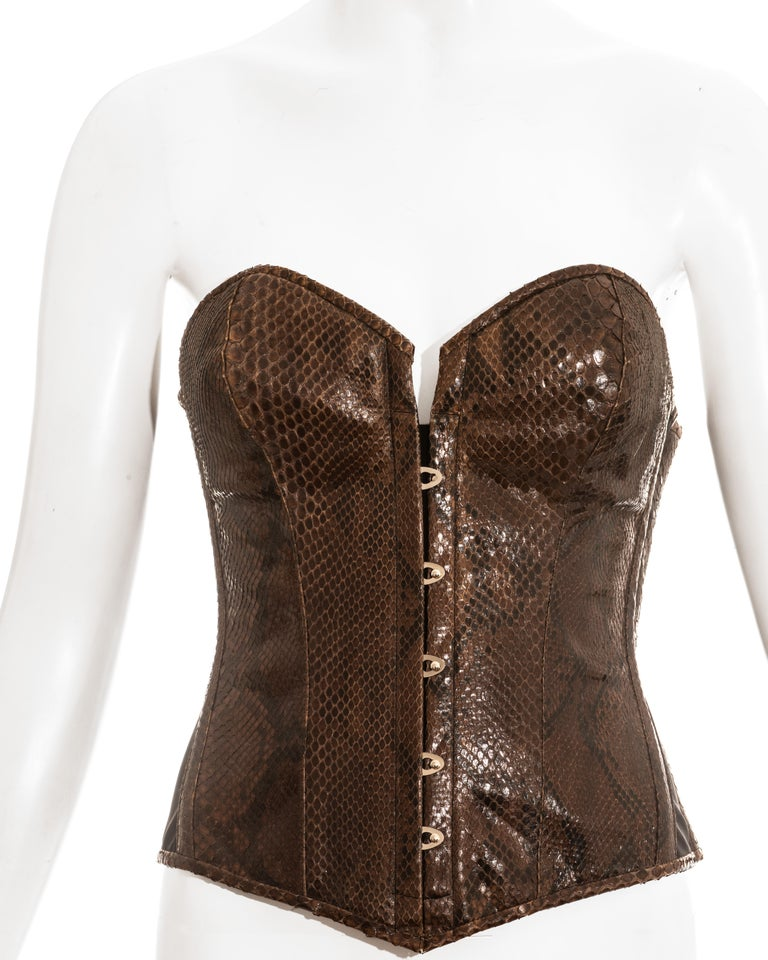 Dolce & Gabbana brown python bustier corset, ss 2005 In Excellent Condition In London, GB