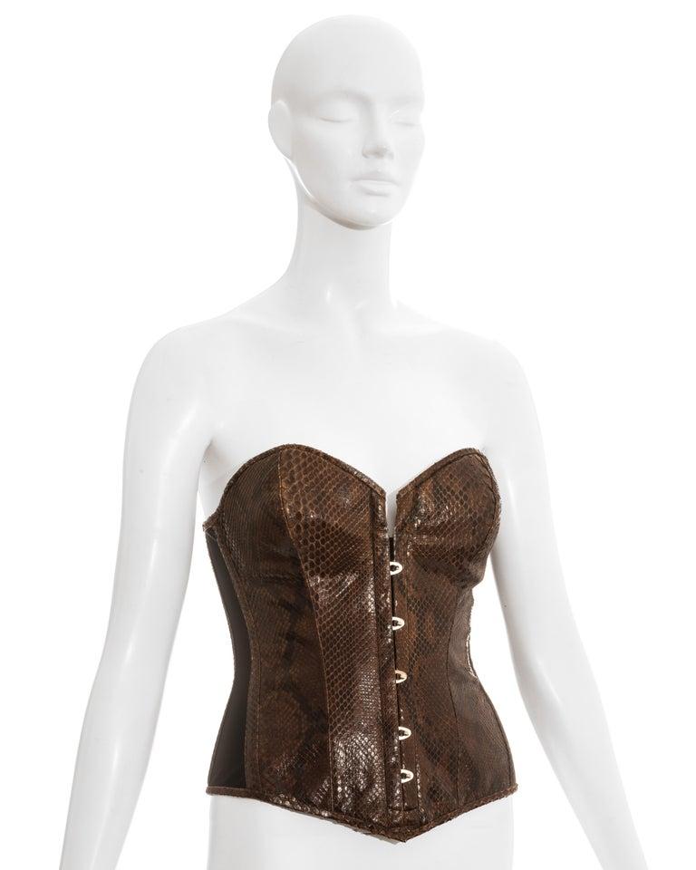 Women's Dolce & Gabbana brown python bustier corset, ss 2005
