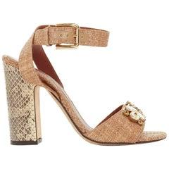 DOLCE GABBANA brown raffia crystal jewel embellished chunky python heels EU37.5