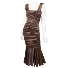 Dolce & Gabbana Brown Ruched Dress