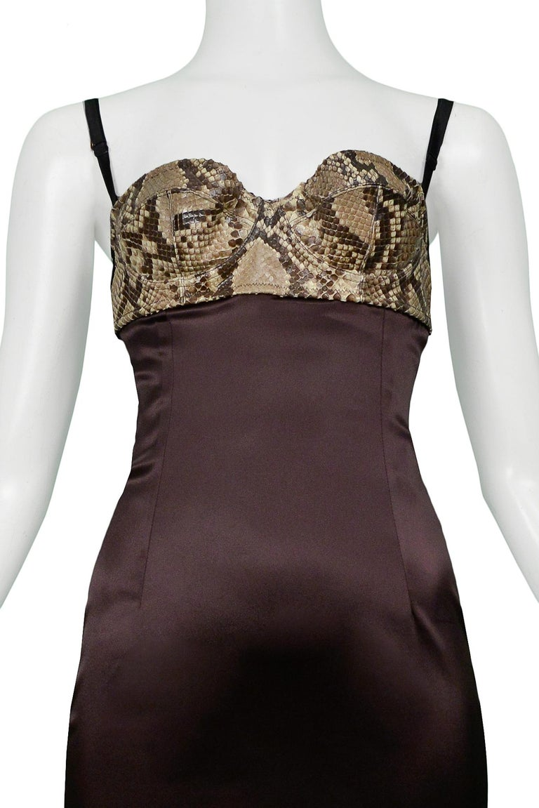 Black Dolce & Gabbana Brown Satin Cocktail Dress with a Python Leather Bra Top For Sale