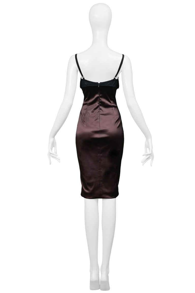 Dolce & Gabbana Brown Satin Cocktail Dress with a Python Leather Bra Top In Excellent Condition For Sale In Los Angeles, CA