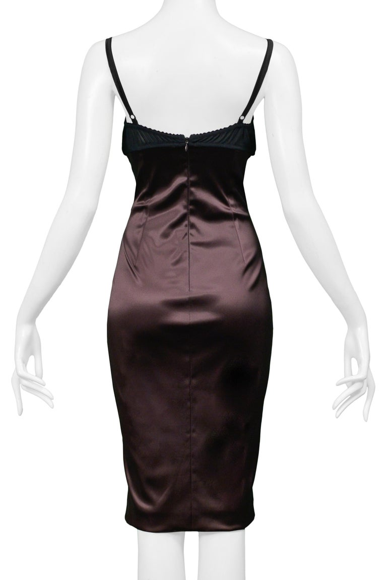 Women's Dolce & Gabbana Brown Satin Cocktail Dress with a Python Leather Bra Top For Sale