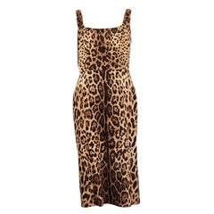 DOLCE & GABBANA brown silk LEOPARD Sleeveless Sheath Dress 46 XL