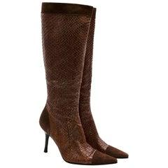Dolce & Gabbana Brown Snakeskin & Suede Heeled Vintage Long Boots - Size EU 39