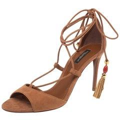 Dolce & Gabbana Brown Suede Pom Pom Detail Tie Up Sandals Size 37.5