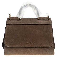 Dolce & Gabbana Brown Suede Soft Medium Miss Sicily Top Handle Bag