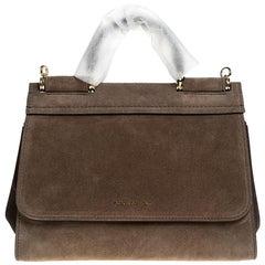 Dolce & Gabbana Brown Suede Soft Miss Sicily Top Handle Bag
