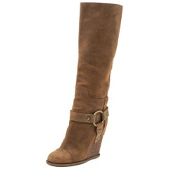 Dolce & Gabbana Brown Suede Wedge Knee High Boots Size 38