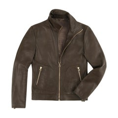 DOLCE & GABBANA Brown Taupe Pebbled Deer Leather Zip Front Moto Bomber Jacket