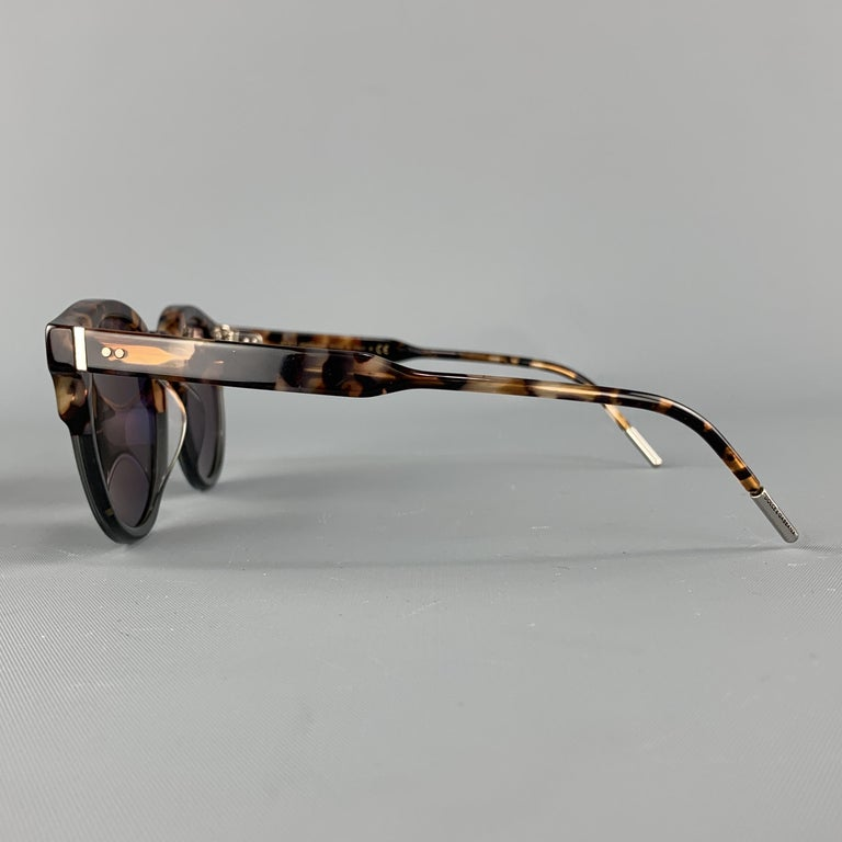 DOLCE & GABBANA Brown Tortoiseshell Acetate Mirrored Circle Sunglasses In Excellent Condition For Sale In San Francisco, CA