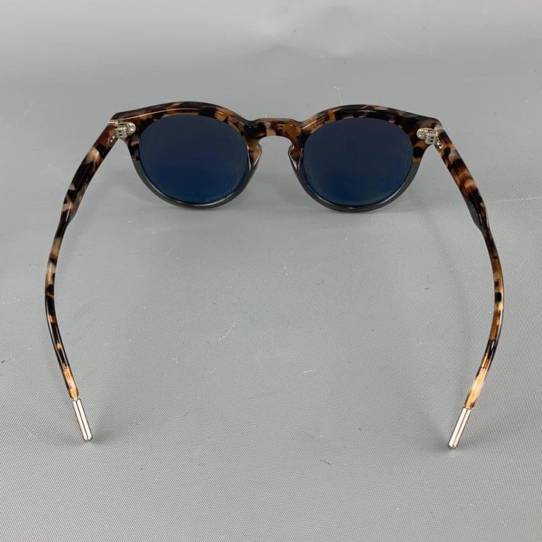 Men's DOLCE & GABBANA Brown Tortoiseshell Acetate Mirrored Circle Sunglasses For Sale