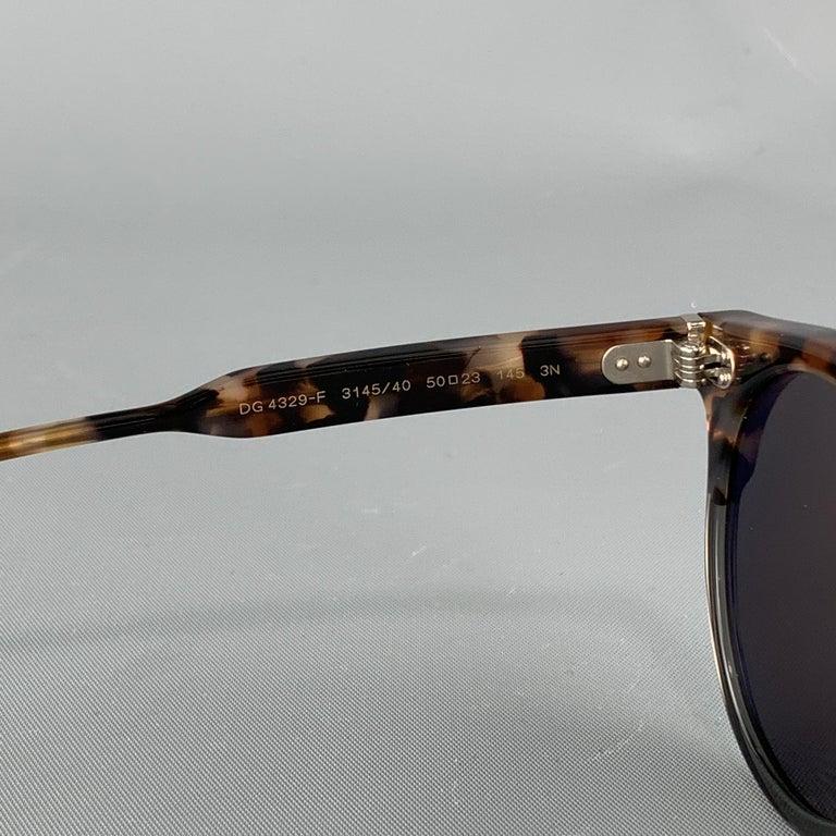 DOLCE & GABBANA Brown Tortoiseshell Acetate Mirrored Circle Sunglasses For Sale 1