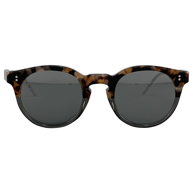 DOLCE & GABBANA Brown Tortoiseshell Acetate Mirrored Circle Sunglasses For Sale