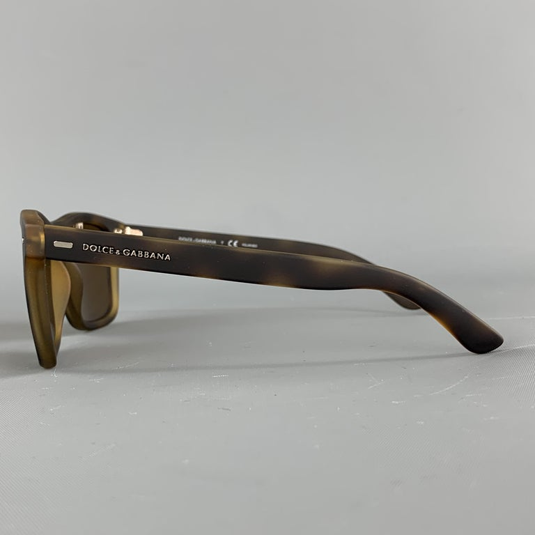 Black DOLCE & GABBANA Brown Tortoiseshell Rubberized Acetate Sunglasses For Sale