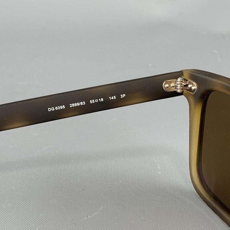 Men's DOLCE & GABBANA Brown Tortoiseshell Rubberized Acetate Sunglasses For Sale