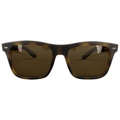 DOLCE & GABBANA Brown Tortoiseshell Rubberized Acetate Sunglasses