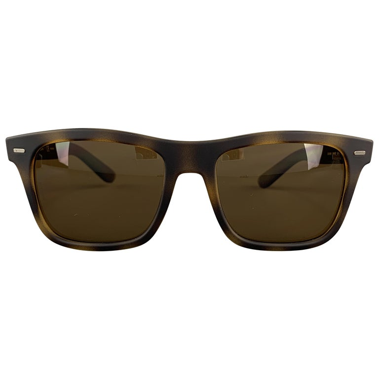 DOLCE & GABBANA Brown Tortoiseshell Rubberized Acetate Sunglasses For Sale