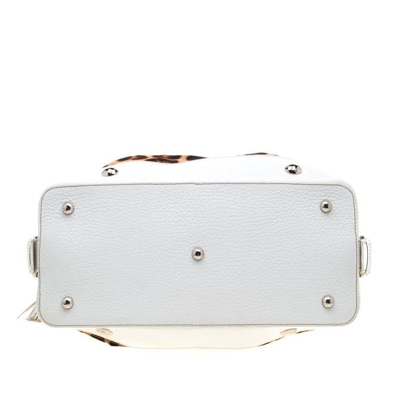 Dolce & Gabbana Brown/White Calfhair and Leather Satchel For Sale 7