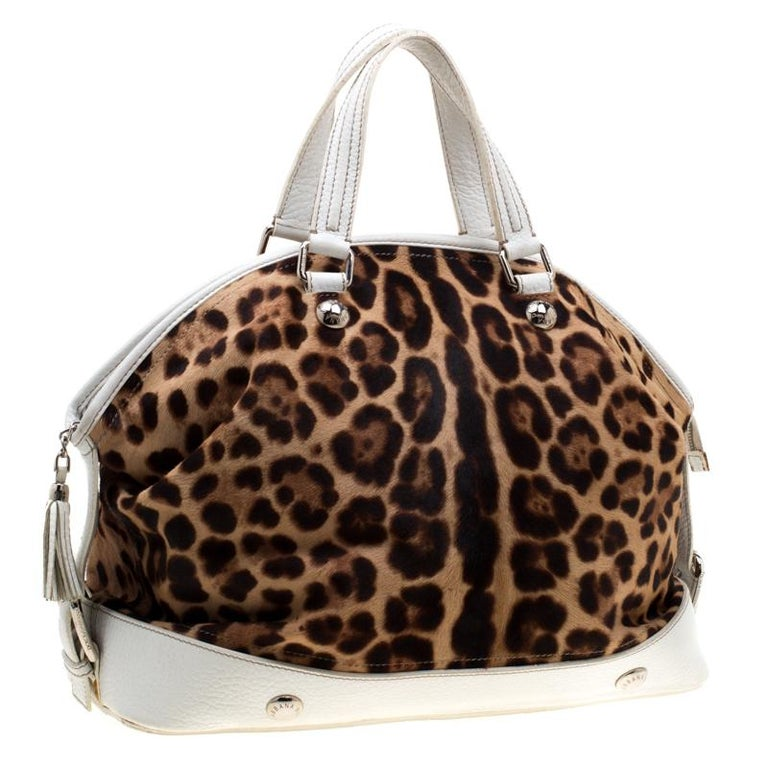 Dolce & Gabbana Brown/White Calfhair and Leather Satchel For Sale 2