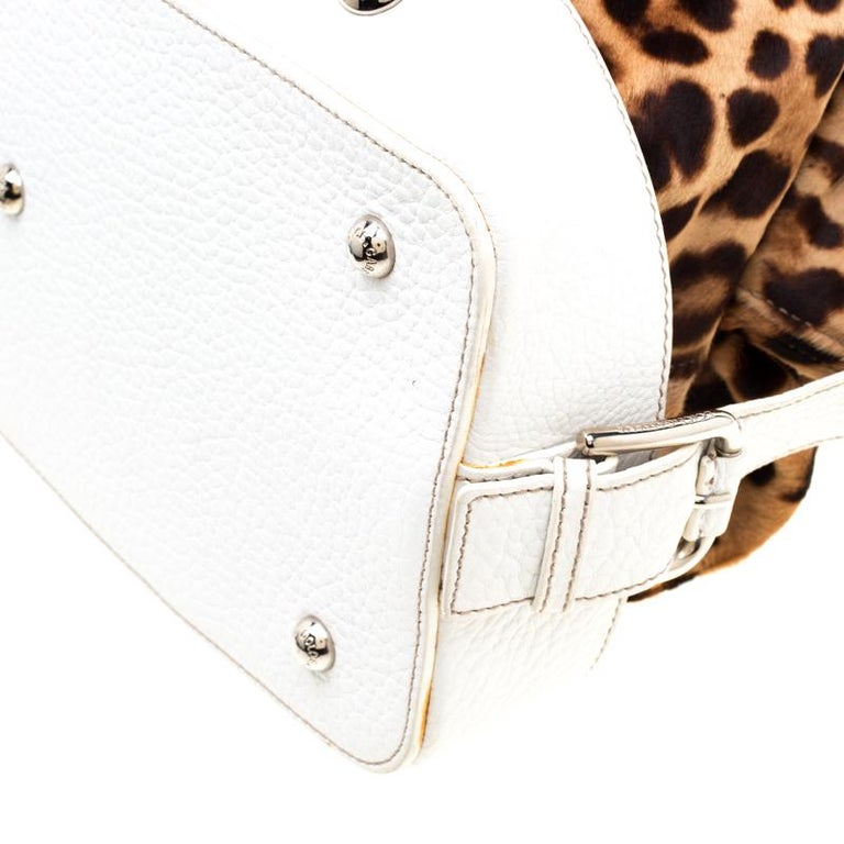 Dolce & Gabbana Brown/White Calfhair and Leather Satchel For Sale 4