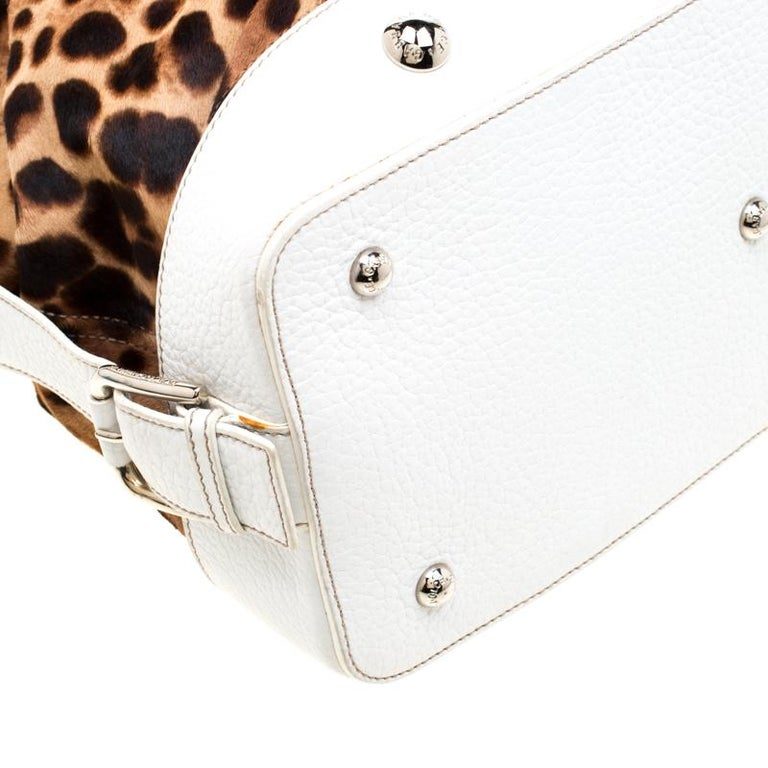 Dolce & Gabbana Brown/White Calfhair and Leather Satchel For Sale 5