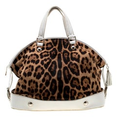 Dolce & Gabbana Brown/White Calfhair and Leather Satchel