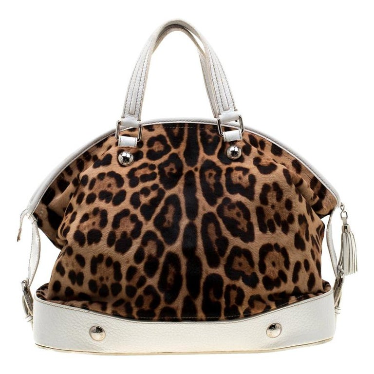 Dolce & Gabbana Brown/White Calfhair and Leather Satchel For Sale