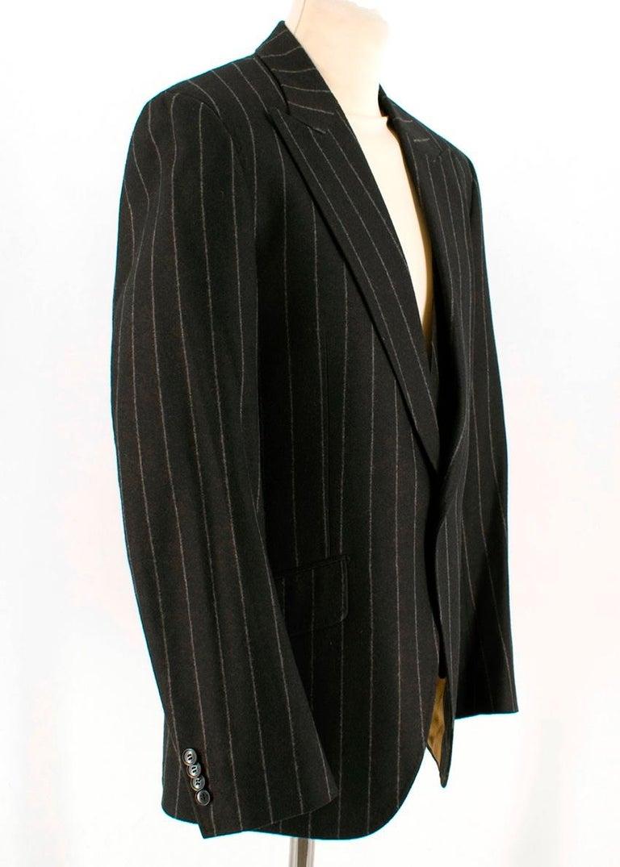Black Dolce & Gabbana Brown Wool Pinstripe 3 Piece Suit L 50 For Sale