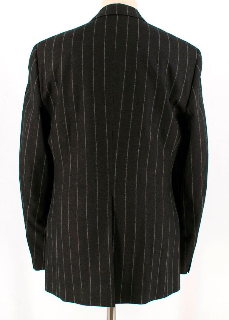 Dolce & Gabbana Brown Wool Pinstripe 3 Piece Suit L 50 In New Condition For Sale In London, GB