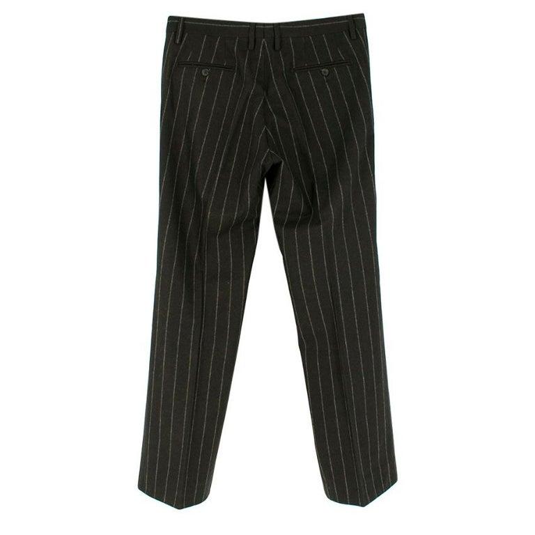 Men's Dolce & Gabbana Brown Wool Pinstripe 3 Piece Suit L 50 For Sale