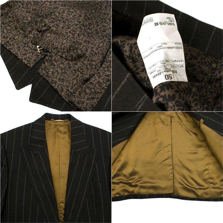 Dolce & Gabbana Brown Wool Pinstripe 3 Piece Suit L 50 For Sale 1