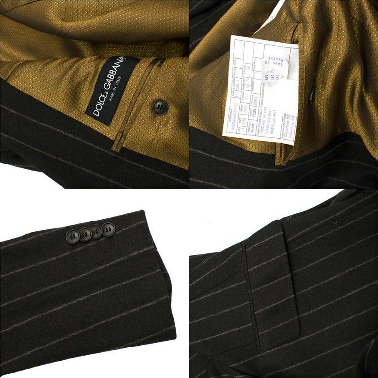 Dolce & Gabbana Brown Wool Pinstripe 3 Piece Suit L 50 For Sale 2