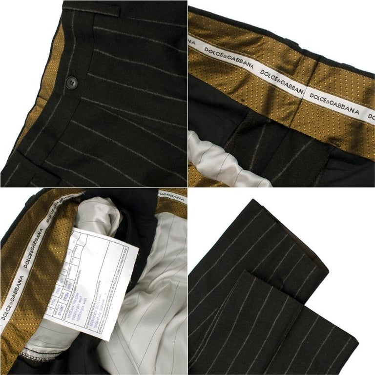 Dolce & Gabbana Brown Wool Pinstripe 3 Piece Suit L 50 For Sale 3