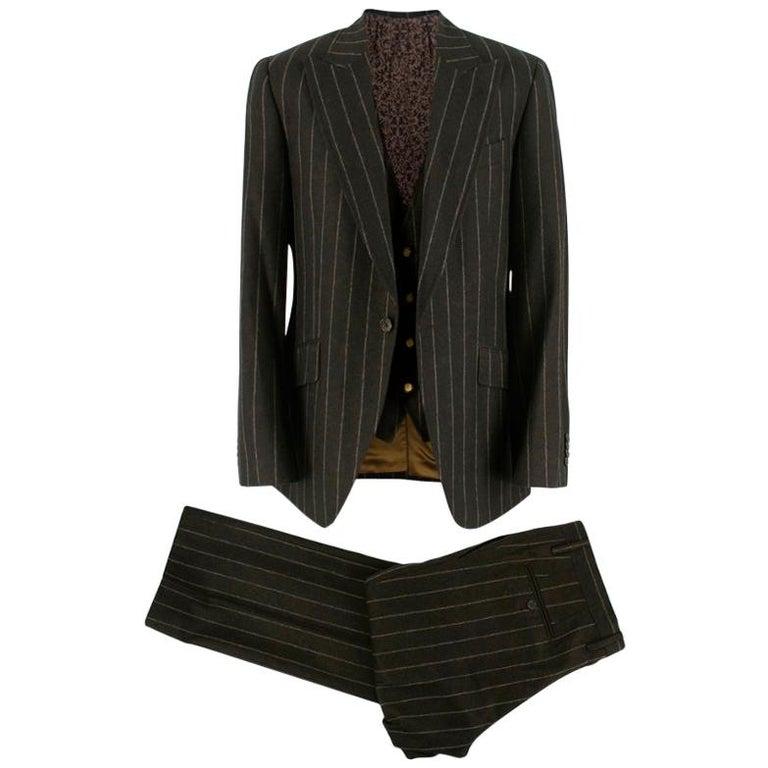 Dolce & Gabbana Brown Wool Pinstripe 3 Piece Suit L 50 For Sale