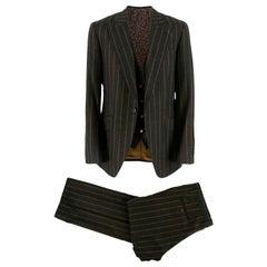 Dolce & Gabbana Brown Wool Pinstripe 3 Piece Suit - Size L EU 50