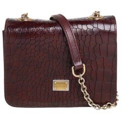 Dolce & Gabbana Burgundy Croc Embossed Leather Flap Chain Crossbody Bag