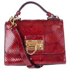 DOLCE & GABBANA burgundy FAUX PYTHON MONICA SMALL Bag