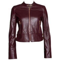Dolce & Gabbana Burgundy Leather Biker Jacket IT 38
