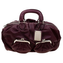 Dolce & Gabbana Burgundy Leather Miss Curly Bag