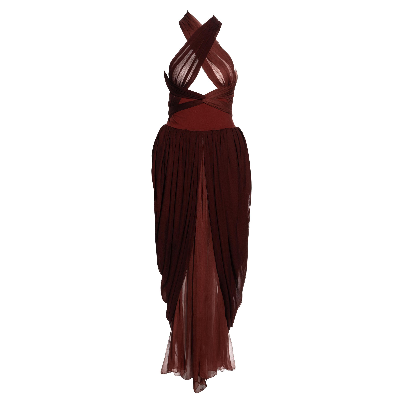 Dolce & Gabbana burgundy silk chiffon dress with bandage straps, ss 1990