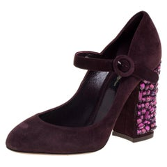 Dolce & Gabbana Burgundy Suede Mary Jane Embellished Heel Pumps Size 36