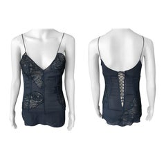Dolce & Gabbana c. 2000 Sheer Silk and Lace Black Corset Top