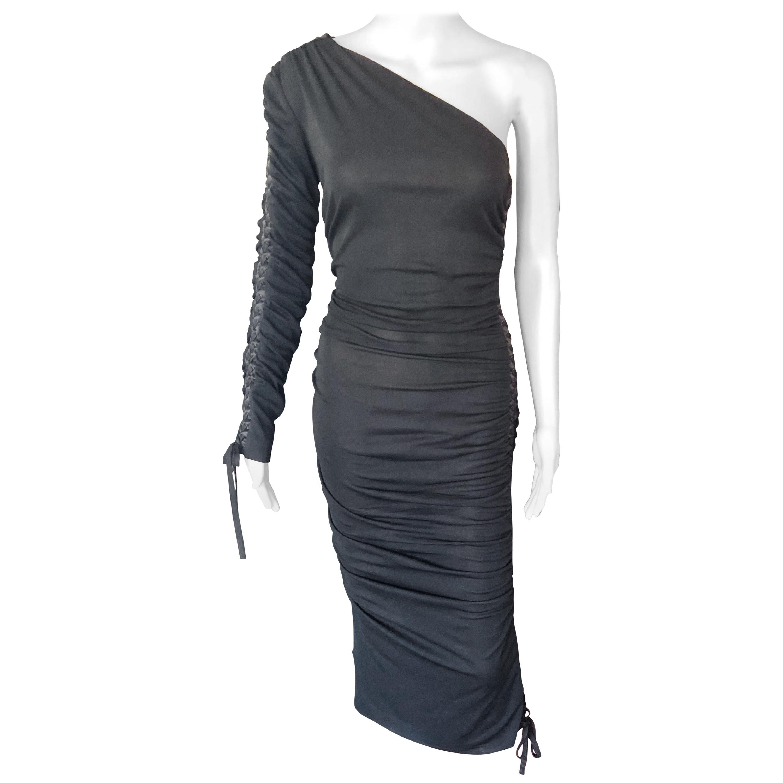 Dolce & Gabbana c. 2001 Semi-Sheer One Shoulder Corset Lace Up Ties Black Dress