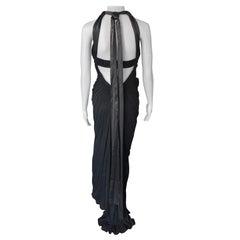 Dolce & Gabbana c.2000 Halter Cutout Open Back Black Evening Dress Gown