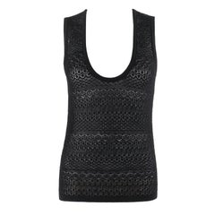 DOLCE & GABBANA c.2000's Black Sleeveless Crochet Knit Vest Shell Tank