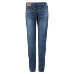 DOLCE & GABBANA c.2000's Five Pocket Sideways Avant Garde Straight Leg Jeans
