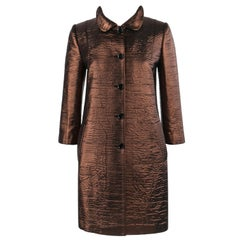 DOLCE & GABBANA c.2010's Dark Bronze Metallic Silk Car Coat 3/4 Sleeve Jacket