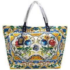 Dolce & Gabbana Canvas Majolica Print Shopping Tote